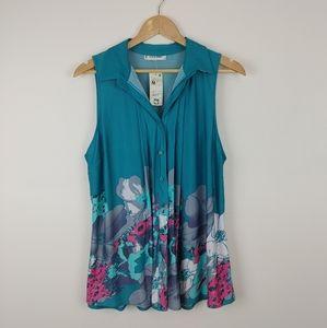 JON & ANNA |Turquoise Sleeveless Button Up Top